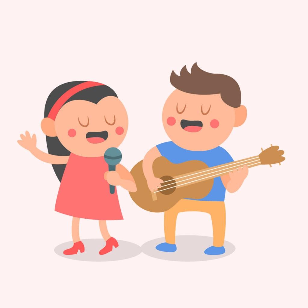 Gambar Kartun Anak Sedang Bernyanyi | Top Gambar